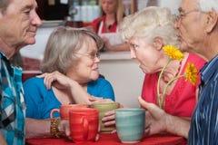 Pares superiores que conversam no café Imagem de Stock Royalty Free
