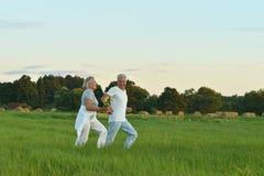 pares superiores que correm no campo Fotografia de Stock Royalty Free