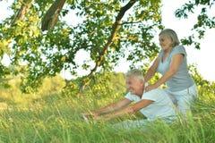 Pares superiores que fazem exercícios Imagem de Stock Royalty Free