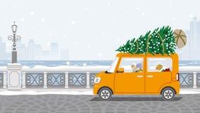 Pares superiores que montam o carro que carregou a árvore de Natal - W ilustração do vetor