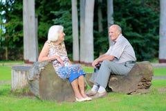 Pares superiores que relaxam no parque fotografia de stock royalty free