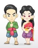 Pares tailandeses na ilustração tradicional do traje ilustração royalty free