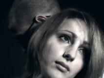 Pares tristes con la chica joven y el muchacho 2 Fotografía de archivo
