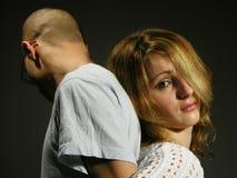 Pares tristes con la chica joven y el muchacho 3 Imagen de archivo