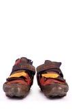 Pares velhos de sapatas de ciclagem off-road imagem de stock royalty free