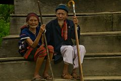 Pares velhos durante o festival do búfalo Foto de Stock