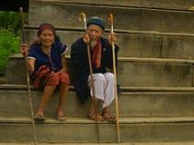 Pares velhos durante o festival do búfalo Fotografia de Stock Royalty Free
