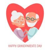 Pares velhos felizes junto Pares bonitos dos sêniores no amor avós que guardam as mãos Dia feliz das avós Ilustração do vetor Imagens de Stock