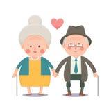 Pares velhos felizes que guardam as mãos Fotografia de Stock Royalty Free