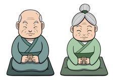 Pares velhos japoneses que apreciam o chá Imagem de Stock Royalty Free