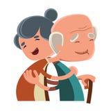 Pares velhos que abraçam o personagem de banda desenhada da ilustração ilustração do vetor
