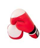 Pares vermelhos de encaixotamento-luvas isoladas no fundo branco fotografia de stock royalty free