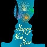 Pares y fuegos artificiales en el Año Nuevo Foto de archivo libre de regalías