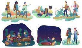 Pares y grupo románticos jovenes de amigos que caminan viaje o acampada de la aventura Varón y el caminar femenino, descansando ilustración del vector