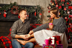 Pares y la Navidad Foto de archivo libre de regalías
