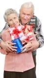 Pares y rectángulos viejos con los regalos Fotografía de archivo libre de regalías