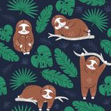 Paresse mignonne paresseuse rêvant dans la jungle Modèle sans couture de vecteur de textile Ornement de papier peint pour l'embal illustration stock