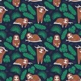 Paresse mignonne paresseuse rêvant dans la jungle Modèle sans couture de vecteur de textile Ornement de papier peint pour l'embal illustration de vecteur