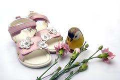 Paret av sandaler för rosa färgläderflicka vid nejlikan flödar den nästa ceramien Royaltyfri Foto