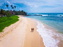 Paret går på den tropiska sandiga stranden royaltyfri foto