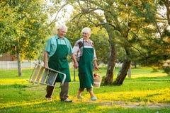 paret hands den lyckliga holdingpensionären Royaltyfri Fotografi