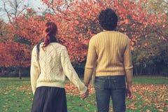 paret hands holdingparken Arkivfoto
