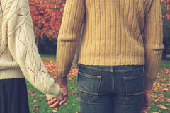 paret hands holdingparken Arkivbild