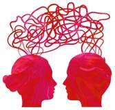 paret heads att tänka för förhållandesilhouette stock illustrationer