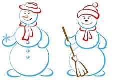 paret kastar snöboll Arkivbilder