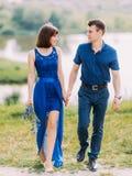 Paret rymmer händer och ser de, medan gå i ängen Hellång sikt royaltyfri fotografi