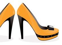 paret shoes yellow Royaltyfri Fotografi