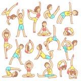 Paret som gör yoga, poserar royaltyfri illustrationer