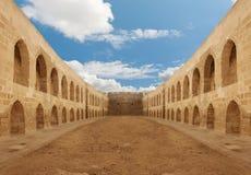 Parete antica del cortile del castello Fotografie Stock