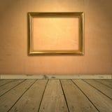 Parete arancione Grungy con il blocco per grafici Fotografie Stock