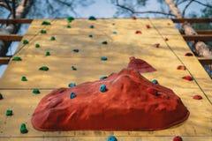 Parete artificiale di arrampicata al parco all'aperto di avventura della palestra fotografia stock libera da diritti