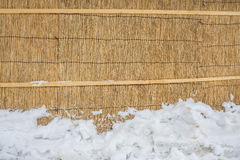 Parete asciutta della paglia con neve Fotografia Stock Libera da Diritti