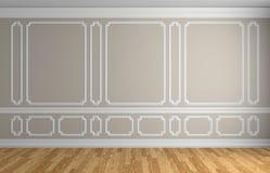 Parete beige nel fondo architettonico della stanza vuota classica di stile Fotografie Stock