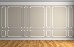 Parete beige nella stanza classica di stile Fotografia Stock