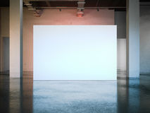Parete bianca in bianco in museo moderno rappresentazione 3d Fotografie Stock