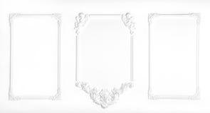 Parete bianca decorata con lo stucco, nella rinascita, barocco Fotografie Stock Libere da Diritti