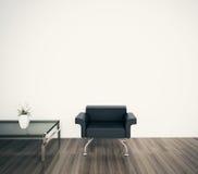 Parete in bianco del fronte interno moderno minimo della poltrona Fotografie Stock Libere da Diritti