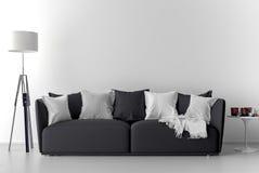 Parete in bianco nella stanza vuota con il sofà illustrazione vettoriale