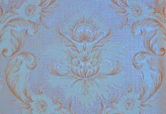 Parete, carta, carta da parati, con l'originale, oro, modello floreale, fondo blu, rinnovamento, progettazione Fotografia Stock