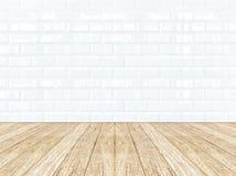 Parete ceramica delle mattonelle e pavimento di legno Immagine Stock Libera da Diritti