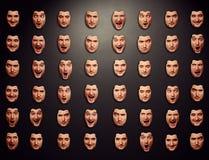 Parete con differenti maschere emozionali Fotografia Stock