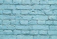 Parete con la pittura blu del modello della pittura del mattone Fotografia Stock