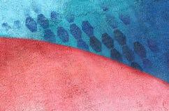 Parete con la pittura blu rosa variopinta del modello della pittura del modello Fotografie Stock