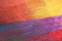 Parete con la pittura gialla ed arancio variopinta del modello della pittura Fotografie Stock