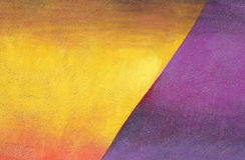 Parete con la pittura porpora del modello della pittura murale del yelllow variopinto fotografia stock libera da diritti