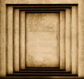 Parete con le proiezioni geometriche sotto forma di rettangoli fotografia stock
